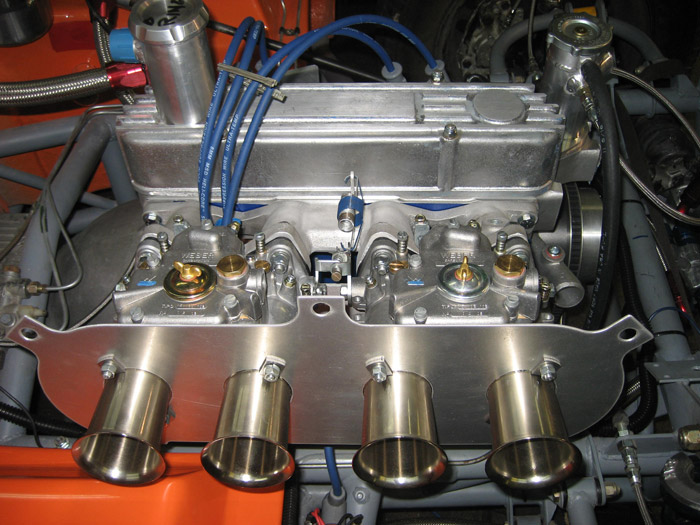 closeup of the Ford 1.6 litre engine built by Specialty Engineering